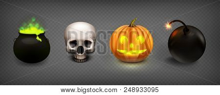 Stock Vector Illustration Set Halloween Isolated On A Transparent Checkered Background. Cauldron Wit