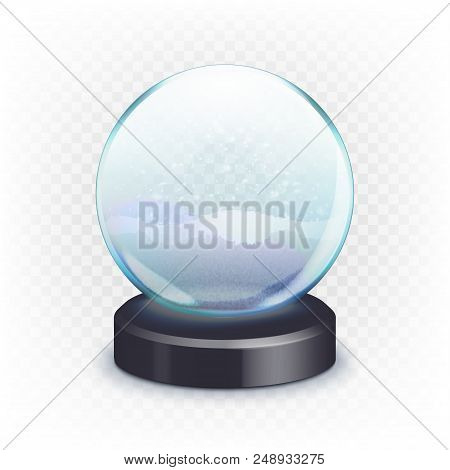Stock Vector Illustration Realistic New Year Christmas Empty Snow Globe, Ball Isolated On A Transpar