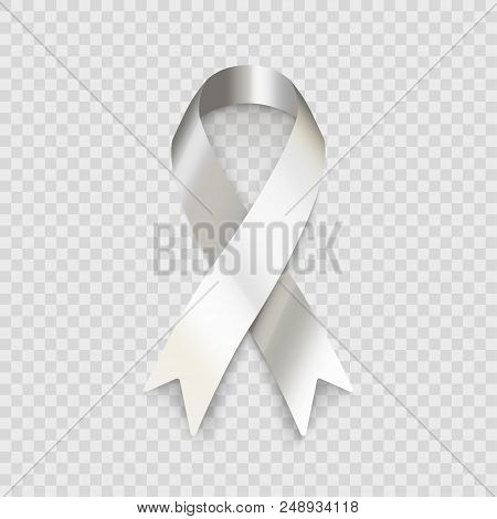 Stock Vector Illustration White Ribbon Isolated On A Transparent Checkered Background Eps10