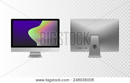 Stock Vector Illustration Realistic Set Personal Desktop Computer, Pc. Modern Flat Screen Monitor. B