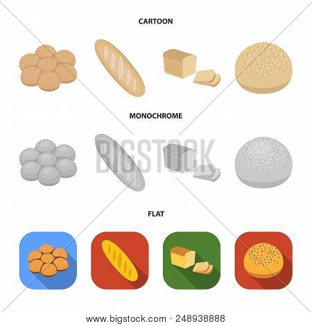 Cut Loaf, Bread Roll With Powder, Half Of Bread, Baking.bread Set Collection Icons In Cartoon, Flat,