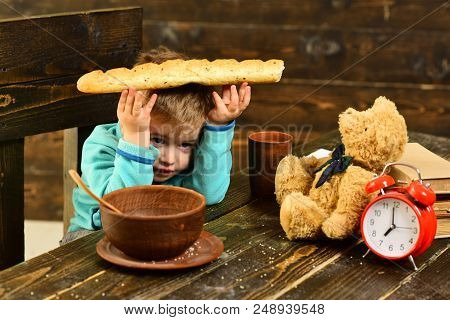 Healthy Food Concept. Boy Hold Bread, Healthy Food. Healthy Food For Little Child. Eat Healthy Food.