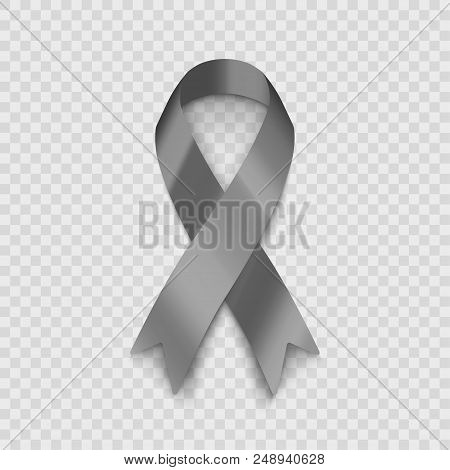 Stock Vector Illustration Gray Ribbon Isolated On Transparent Background. The Problem Of Diabetes. T