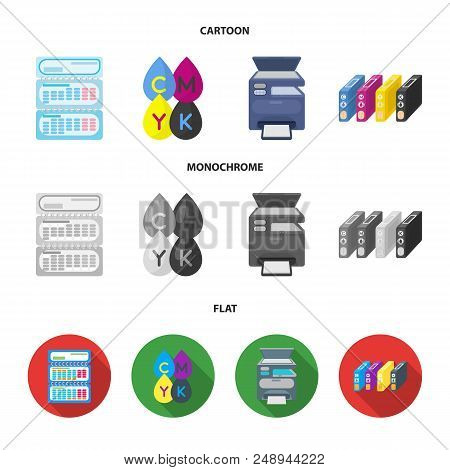 Calendar, drops of paint, cartridge, multifunction printer. Typography set collection icons in cartoon, flat, monochrome style vector symbol stock illustration . poster