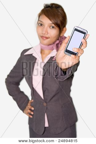 businesswoman shows his mobile