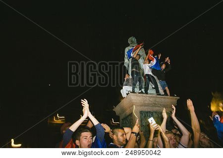 Strasbourg, France - July 10, 2018: Happy Ambiance On Central Place Kleber After The Victory Of Fran