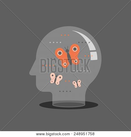 Psychotherapy concept, mental wellbeing, self awareness and mindfulness, feeling empathy, social issues, brain problems, meditation practice, control feelings, creative personality, vector icon poster