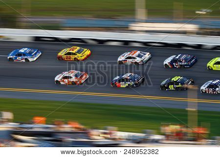 July 07, 2018 - Daytona Beach, Florida, USA: The Monster Energy NASCAR Cup Series races in the pack during the Coke Zero Sugar 400 at Daytona International Speedway in Daytona Beach, Florida.