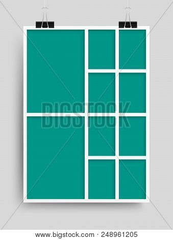 Templates Collage Ten Frames For Photo Or Illustration. Vector Frame For Photos, Pictures, Photo Col