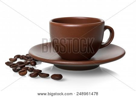 Ceramic Cup And Saucer For Hot Drink, Coffee Beans Near, Isolated On White Background