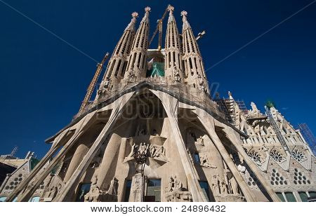 Holy Passion facade of Sagrada Familia church