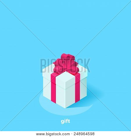White Greeting Card With A Pink Bow On A Blue Background, Isometric Image