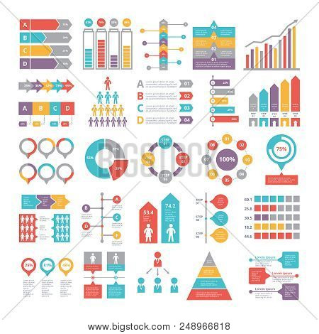 Charts, Graphs And Other Different Infographics Elements For Business, Colored Chart And Graph, Vect
