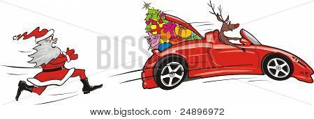 reindeer escapes convertible from santa claus