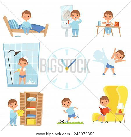 Daily Routine. Kids Making Various Cases In All Day. Vector Child Daily Sleep, Eat And Activity Illu