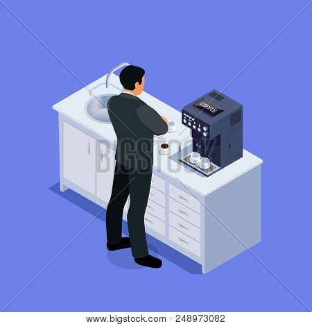 Isometric Concept Office Life. 3d Office Kitchen With A Coffee Machine. A Businessman At A Break Pre