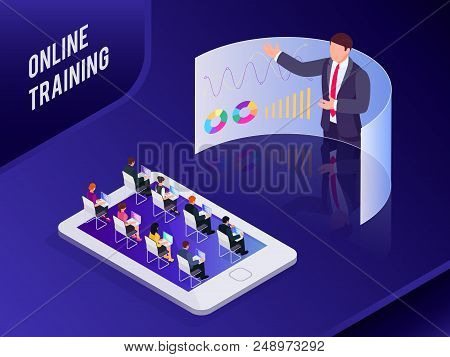 Isometric Concept Online Training. 3d Training With People On Smartphone. People At Business Trainin