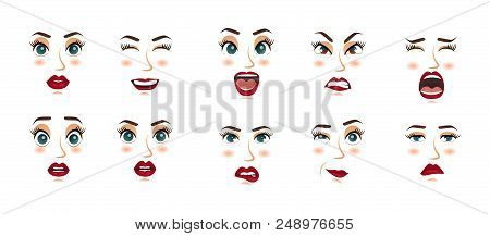 Women Facial Expressions, Gestures, Emotions Happiness Surprise Disgust Sadness Rapture Disappointme