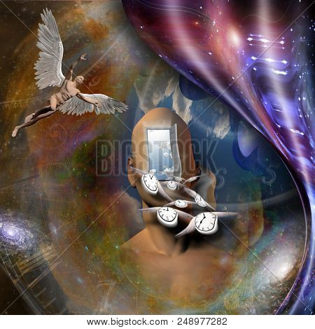 Surrealism. Man's head with opened door to another world. Naked man with wings represents angel. Winged clocks symbolizes flow of time. Warped space. 3D rendering