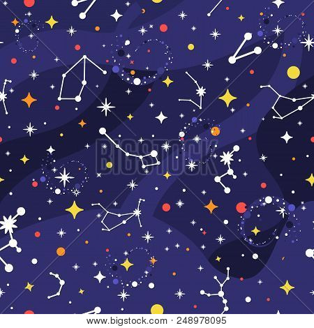 Constellation Seamless Pattern. Space Background. Galaxy Print. Space Pattern With Stars, Milky Way,