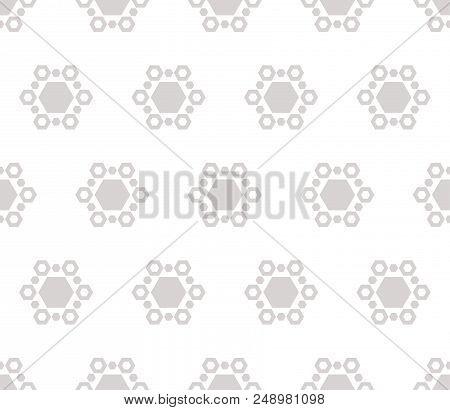 Subtle Winter Background With Geometric Snowflakes. Vector Abstract Minimalist Geometrical Seamless
