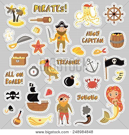 Set Of Pirates Vector Cartoon Stickers. Adventures And Pirate Party Sticker For Kindergarten. Childr