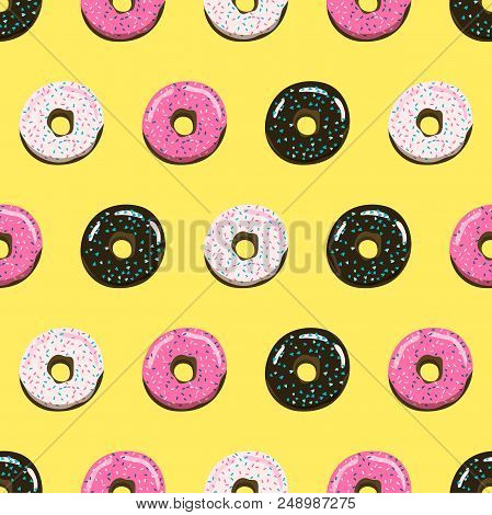 Sweet Summer Retro Donuts Seamless Pattern. Stock Vector