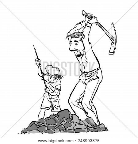 Miners, Prospectors Or Gold Diggers With Pick Axe. Father And Son Mining. Family Business. Vector Il