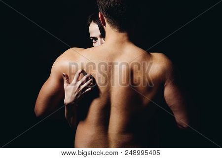 Loving His Body. Woman Hand Touch Man Torso, Rear View. Couple In Love. He Is Absolutely Mine. Back