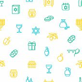 Hanukkah Thin Line Seamless Pattern Background on a White Symbol of Traditional Judaism Religion Celebration. Vector illustration of Jewish Holiday poster