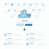 Judaism concept with thin line icons: Orthodox jew, star of David, sufganiyot, hamsa, candles, synagogue, skullcap, rosary, Western Wal, Tanakh. Modern vector illustration, web page template. poster