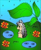 The Hedgehog under green sheet during rainstorm. poster
