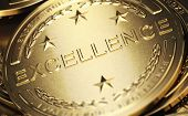 Close up of a golden medal with the word excellence written in relief. Concept of accomplishment. 3D illustration poster