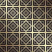 Art Deco Pattern. Seamless golden background. Geometric design. 1920-30s motifs. Luxury vintage illustration poster