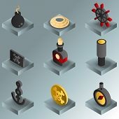 Piracy color gradient isometric icons. Vector illustration, EPS 10 poster