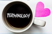 Word writing text Terminology. Business concept for Collection of terms used by different profession study industry Mug coffee lovely thoughts ideas creative inspirations love hart white poster