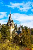 Romanian landmark, Peles castle in Sinaia, Romania poster