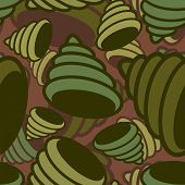 Shell sea military pattern seamless. conch Khaki soldiery texture. Green Camouflage army background . protective ornament vector illustration poster