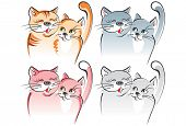 Two cats in love - romance. Four variants. Artistic vector illustration poster