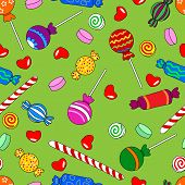 Fun seamless pattern made of all kinds of colorful candy including lollipops. poster