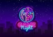 Game Night neon sign Vector logo design template. Game night logo in neon style, gamepad hand, video game concept, modern trend design, light banner, bright nightlife advertisement. Vector Billboard. poster