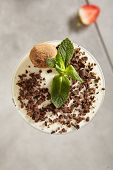 Chocolate Truffle Panna Cotta with Chocolate Flakes and Strawberry. Yummy Dessert Pannacotta in Elegant Tall Glass Decorated with Fresh Mint Leaves and Swiss Truffles. Close up Top View Dessert poster