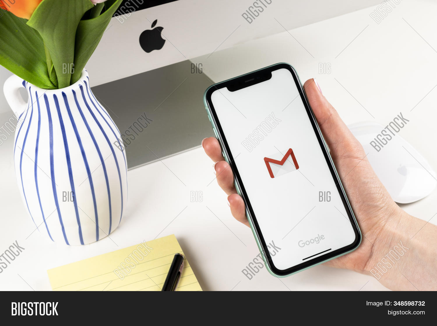 Helsinki, Finland, January 28, 2020: Google Gmail Application Icon On Apple Iphone X Smartphone Scre