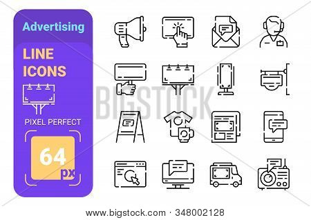 Set 64px Advertising Simple Lines Icons Of Banners And Communication. Concept Collection Modern Symb