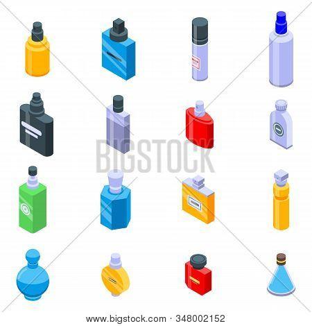 Fragrance Bottles Icons Set. Isometric Set Of Fragrance Bottles Vector Icons For Web Design Isolated