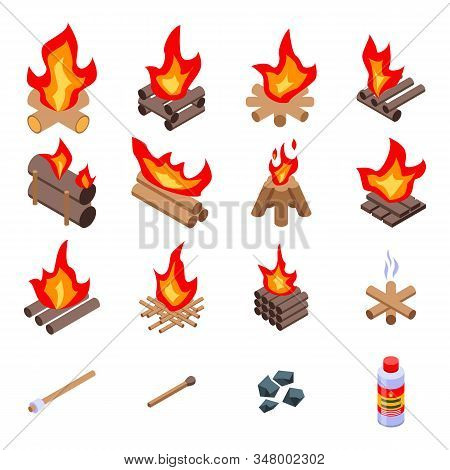 Campfire Icons Set. Isometric Set Of Campfire Vector Icons For Web Design Isolated On White Backgrou