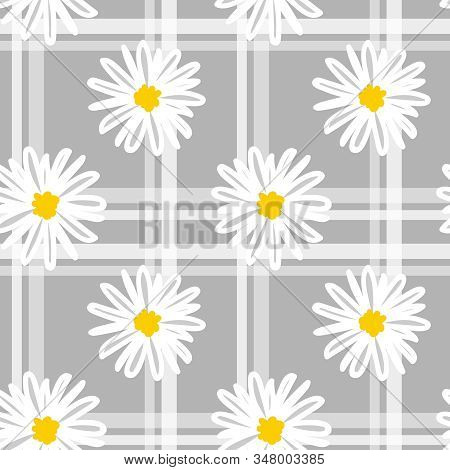 Cute Seamless Pattern Of White Daisies In Doodle Style With Line On Gray Background. Vector Illustra