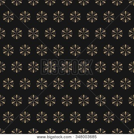 Golden Geometric Snowflakes Seamless Pattern. Luxury Vector Christmas Background With Small Gold Sno