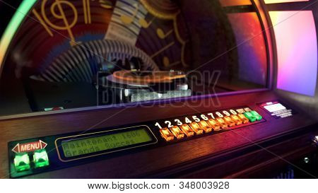 Jukebox Automatically Rearranging Discs For Playing Music With Coin Is Inserted
