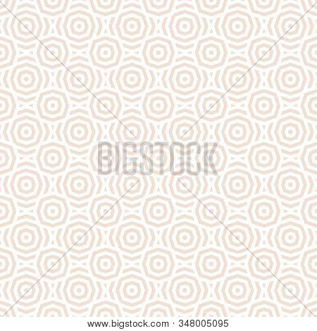 Subtle Vector Geometric Seamless Pattern. Abstract Texture With Lines, Stripes, Octagon Shapes, Circ